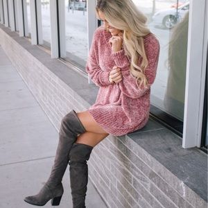 Oversized Chenille Sweater in Pink